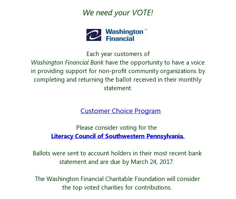Washington Financial Bank Customer Choice Award